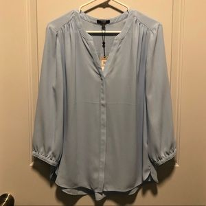 NWT NYDJ Light Blue Pintucked Blouse, L